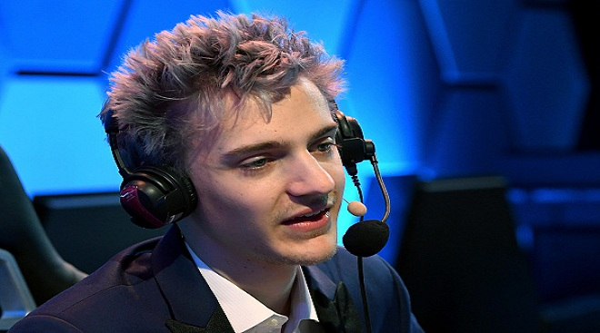 "Twitch streamer and professional gamer Tyler ""Ninja"" Blevins during Ninja Vegas '18 at Esports Arena Las Vegas on April 21, 2018 in Las Vegas, Nevada. Blevins is playing against more than 230 challengers in front of 700 fans in 10 live ""Fortnite"" games with up to USD 50,000 in cash prizes on the line. He is donating all his winnings to the Alzheimer's Association."
